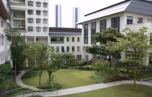 An interior courtyard at Yale-NUS